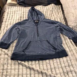 Super cute blue striped Ralph Lauren top with hood